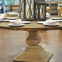 """Bell"" 72"" Round Reclaimed Wood Dining Table - 72"" Round Dining table featuring a reclaimed cypress top. Base and top can be finished in your specified color. Size can be altered to fit your needs. Visit our website or send us an email for further information."