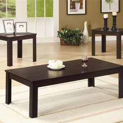 Coaster - 3-Pc Casual Rectangular Occasional Table Set - Includes one coffee table and two end tables. Dark walnut finish. End table: 18 in. W x 16 in. D x 19 in. H. Coffee table: 44 in. W x 22 in. D x 15 in. H. WarrantyThis casual three piece occasional table set is a fine example of simplicity at its best. Visible wood grain on the base is contrasted with a smooth, unblemished table surface for placing drinks or displaying decorative accents. Simple legs continue the fluid lines and modest design of this living room end table set.