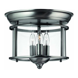 Hinkley Lighting - 3473PW Gentry Flush Mount, Pewter, Clear Bent Shades Glass - Traditional Flush Mount in Pewter with Clear Bent Shades glass from the Gentry Collection by Hinkley Lighting.