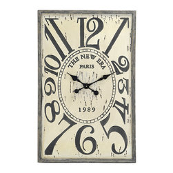 Kathy Kuo Home - French Country Vintage Wood Hanging Wall Clock - Vintage French country styling meets practical timekeeping in this wooden, distressed clock. This clock's muted beauty means it will hold its own next to the artwork hanging on the wall of your country cottage, or lean it against the wall on top of a reclaimed wooden dresser in your urban loft for a more casual look.