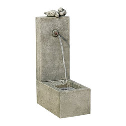 Campania - Bird Element Garden Water Fountain - The Bird Element Garden Water Fountain will definitely be an instant favorite. It features two charming birds sit atop of the fountain peering into the basin below. Constructed from exquisite cast stone and polished with patina or acid stain, providing your outdoor spaces a stunning element and relaxing atmosphere.