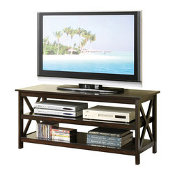 """Adarn Inc - 3-Shelf Dark Medium Veneer TV Stand Entertainment Center w/ """"X"""" Accents on Frame - Enhance your living space with This TV stand suitable for all types of home decors. Covered in a medium veneer with """"x"""" accents on each side of the frame, this two shelf storage unit not only displays your TV, but can hold all the entertainment amenities needed for an exciting experience."""