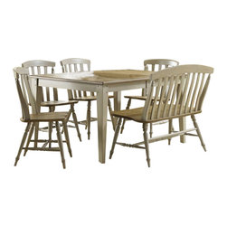 Liberty Furniture - Liberty Furniture Al Fresco 7 Piece 74x40 Dining Room Set w/ Bench and Server in - Al Fresco or dining in the outdoors brings to mind an open air natural feel. Al Fresco Casual Dining is a fresh approach to a casual rustic style. Two tone finish with tops of the tables in driftwood and the base in a taupe finish. Tops feature planked design with round/square peg accents. Tapered block legs carry the casual rustic theme of the group. Butterfly leaf square counter table has a pedestal storage base with a storage drawer and top shelving. What's included: Dining Table (1), Side Chair (4), Bench (1), Server (1).
