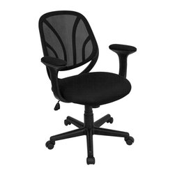 Flash Furniture - Mid Back Computer Task Chair w Arms in Black - Flex-back conforms to natural curvature of the back. Hard polypropylene molded arms. Padded mesh arm rests. Well padded mesh fabric seat. Pneumatic seat height adjustment. Tilt-lock mechanism. Tilt tension adjustment. Heavy duty nylon 5-star base. Dual wheel casters. Warranty: 2 years limited. Assembly required. Back: 18.5 in. W x 19 in. H. Seat: 20 in. W x 19.5 in. D. Seat Height: 17 - 20.75 in. H. Arm Height from Seat: 7.75 in.. Overall: 26 in. W x 25 in. D x 34.75 - 38.5 in. H (32 lbs.)