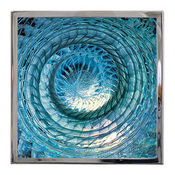 Logicsun/Riviera - Art-Work Wall Sconce - Using the elements of earth, air, fire and water as themes, this unique artisan wall fixture diffuses light from behind beautiful swirls of aqua blue glass. Made from master glass artists in Italy, you'll love the magical ambience this stainless steel and glass wall light brings to your favorite modern spaces.