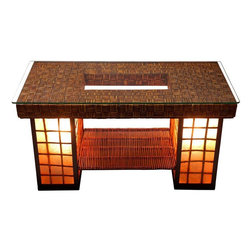 Oriental Furniture - Renato Coffee Table Lamp - This gorgeous coffee table is made of woven rattan and features two built-in lamps on either side.  A truly functional piece of furniture, this coffee table lamp adds a wonderful ambiance to any living room.
