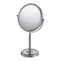 """Recessed Base Vanity Mirror 10X - The Recessed Base Vanity Mirror's regal look is a splendid touch for any room. With a choice of 1x/5x and 1x/10 magnification, the 15"""" tall mirror has a diameter of 7 ¾"""". The base contains a recess for jewelry and the almost ornate design on the stand is sure to liven up any vanity. 1x/5x is available in one finish."""