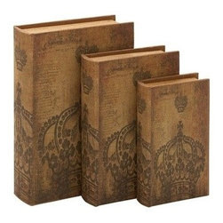 """Benzara - Set of 3 Hollowed Wood Library Storage Books - Wood Book Box 13"""", 11"""", 9""""H - Set of 3 Hollowed Wood Library Storage Books - Wood Book Box 13"""", 11"""", 9""""H. Some assembly may be required. Made with hollowed wood. Size - 9""""x3""""x13"""""""
