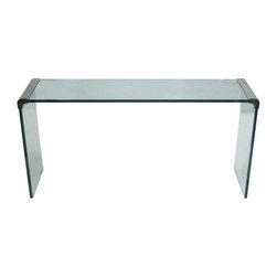 Leon Rosen for Pace Glass Console Table - This 1970's console or sofa table features thick glass and highly polished nickel mounts. Designed by Leon Rosen for Pace Collection, New York, this is the perfect piece to add a little glam to your decor! Rest assured, furniture produced by Pace was made with the highest quality materials.