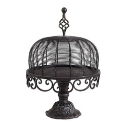 Home Decorators Collection - Charlotte Footed Cake Plate with Dome - Exquisitely crafted of iron with attention paid to the intricate details, the Charlotte Footed Cake Plate with Dome will spectacularly present your favorite desserts such as tortes or cupcakes. The fitted dome keeps out the elements while the finial allows easy lifting. Metal finish completes the look. Quality crafted of iron to create an alluring centerpiece.