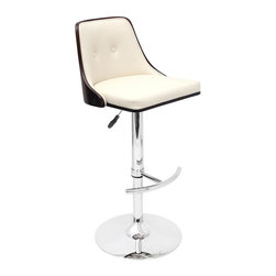 Lumisource - Nueva Barstool in Wenge and Cream - Color/Finish: Wenge Wood and Cream Seat. Construction: Wood, Faux Leather, Chrome, and Foam. Swivels 360 degrees. Due to the natural variation in wood, color may vary slightly. 19.25 in. L x 17.75 in. W x 37.5-42.5 in. H. Seat Height: 27 in.-32 in.. Backrest: 12 in. H. Seat: 17.25 in. W x 16 in. D. Weight: 23.5 lbs.Relax in retro style on the Nueva Barstool! This adjustable height stool with footrest is sure to bring a touch of style to any room with its wooden backrest and padded leatherette seating.