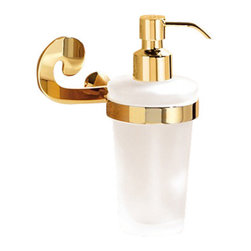 Gedy - Wall Mounted Round Frosted Glass Soap Dispenser With Gold Mounting - Classic, decorative square gold wall mount soap dispenser pump.