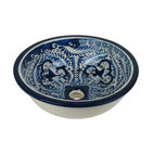 Mexican Artisans - Blue & White Talavera Sink - What could be prettier than the Talavera take on delft design?This patterned clay basin is hand-crafted in Mexico to make an exquisite style statement in your bathroom.