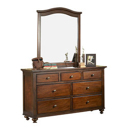 Homelegance - Homelegance Aris Dresser with Mirror in Brown Cherry - Classic in design and bold in style, the youth version of our popular Aris collection adds warmth and character to your child's bedroom. Bun feet serve to support the simple yet elegantly designed case pieces, while the warm brown cherry finish on select hardwoods and veneers completes the overall look. Student desk with hutch and coordinating chair are also available.