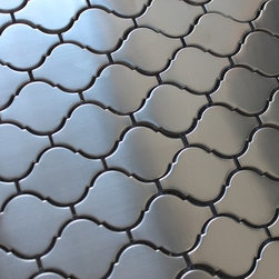"""Stainless Steel Arabesque Mosaic Tiles, 10 Square Feet - Make a bold statement in your kitchen with a stainless steel backsplash from Rocky Point Tile. Each tile is 2 5/8"""" x 1 7/8"""" in size with a tight grout line. Use these tiles over an entire wall or as a poppy accent in your next renovation! Please note, we do not recommend using stainless steel tiles in wet areas."""