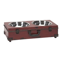 IMAX CORPORATION - Benjamin Truck Pet Feeder - This old world inspired trunk shaped pet feeder is a must have for any pet owner. It's traditional look pairs well with any home. Find home furnishings, decor, and accessories from Posh Urban Furnishings. Beautiful, stylish furniture and decor that will brighten your home instantly. Shop modern, traditional, vintage, and world designs.