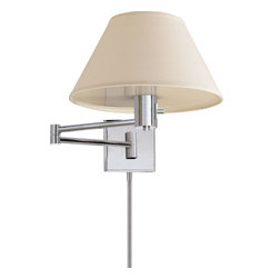 Classic Swing Arm Wall Lamp - Aim your light just the way you like it. With a simple swing of its elegant arm, this wall lamp will illuminate your reading material delicately, directly and downright beautifully.