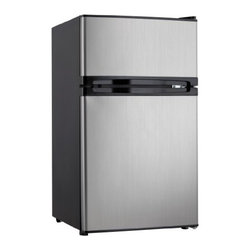 Danby - 3.0 cu.ft. dual door compact refrigerator with independent freezer, black with s - This dual door Energy Star