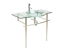 Renovators Supply - Glass Sinks Glass/Chrome Miranda Wall Mount Glass Sink - Glass Sinks: the Miranda tempered glass sink package comes complete with faucet, pop-up drain and p-trap. stainless steel console with spacious counter area and handy towel rail.