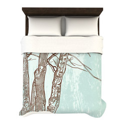 Woodsy Duvet - Queen - Bring the forest inside with this woodsy queen size duvet cover. A calming seafoam green background and soft microfiber material make for an irresistable bed.