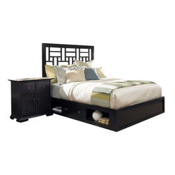 Broyhill - Broyhill Perspectives Lattice Storage Bed 5 Pc Bedroom Set in Graphite - Broyhill - Bedroom Sets - 44445PcLatticeLowStorageBedSet - Broyhill Perspectives Media Chest in Graphite Finish (included quantity: 1) About This Product:�