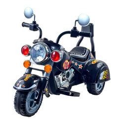 Trademark Global Inc - Lil Rider Harley Wild Child Motorcycle Battery Powered Riding Toy - Blue - 80-16 - Shop for Tricycles and Riding Toys from Hayneedle.com! Is it time for tot's first hog? The Lil Rider Harley Style Wild Child Battery Powered Motorcycle has plenty of chrome headlights that really light sound effect buttons and a reverse gear for the realistic ride of his or her young life. From the driveway to the sidewalks your wild child can experience the thrill of motorcycling while you take fantastic photos. Includes a 6 volt rechargeable battery that offers 1 hour of use per 8-10 hours of charging. Of course adult supervision is required. Keep children away from roads and moving vehicles. Ride with appropriate safety gear like real motorcyclists do.