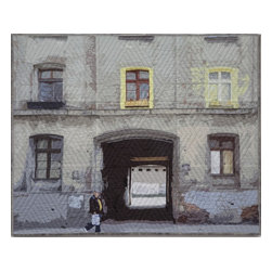 "Lodz Windows 1318, Original, Mixed Media - ""digitally manipulated photography, pigment printing on silk, piecing, hand quilting, gallery-wrapped stretched canvas support"""