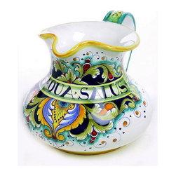 Artistica - Hand Made in Italy - Deruta Vario: Brocca Pitcher Aqua Salus - Deruta Vario Collection: