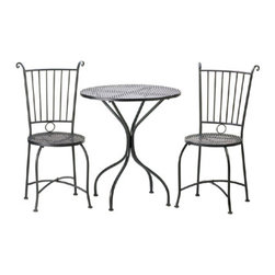 """n/a - Patio Bistro Set - Dine in style with this lovely patio set!  Enjoy breakfast lounging in the morning sun or afternoon tea in the garden with this comfortable and attractive black metal trio.  The set includes a round lattice-table with two matching chairs.  Metal.  Some assembly required.  Table: 27.50"""" x 27.50"""" x 30"""" high.  Each chair:  19"""" x 19"""" x 37"""" high."""