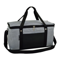 Picnic at Ascot - Large Cooler, Houndstooth by Picnic at Ascot - Our Large Cooler in Houndstooth by Picnic at Ascot is perfect for tailgating, parks and the beach. Constructed with a sewn in wire frame, hard base and inserts to add rigidity. Zippered lid, padded handle grip and shoulder strap makes it is easy for transport.