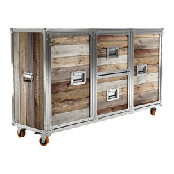 Nashville Sideboard - For hard-working storage with rugged good looks, try out this two-door, two-drawer sideboard. Made from a handsome combination of aluminum edging and raw reclaimed teak, it's a perfect addition to the kitchen or home office.