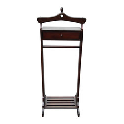 D-Art - D-Art Mahogany Finish Royal Valet Coat Hanger Rack Stand - This gorgeous D-Art rack stand is composed of kiln dried mahogany wood. The practical piece measures 45.5 inches high.