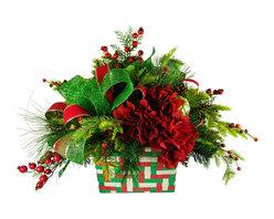 TableCenterpieces.net - Faux Floral Christmas Centerpiece - Details on Christmas Centerpieces