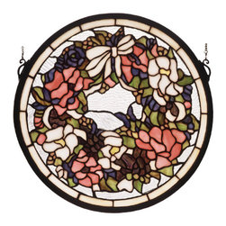 """Meyda - 15""""W X 15""""H Revival Wreath & Garland Medallion Stained Glass Window - A wreath of petal pink,rose and periwinkle bloomstied in a ecru ribbon, circle a clear seedy glassbackground, bordered in ecru. This original design"""