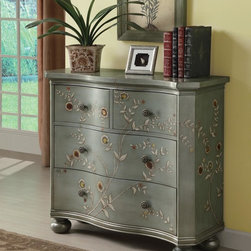 Coaster - Blue Traditional Accent Cabinet - Finished in an antique iridescent blue, this hand-painted cabinet with four drawers features curved drawer fronts, floral knobs and stylish ball feet.