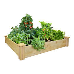 Greenes - Economy 4x4 Cedar Raised Bed, 7 - Inexpensive Cedar Raised Bed - Good Quality, Great Value For Vibrant & Elegant Flower & Vegetable Gardens