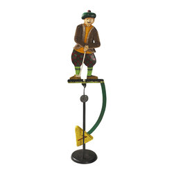 """Inviting Home - Golfer Balance Toy - golfer balance toy; 5-1/2""""x 4-1/4""""x 22""""H; Golfer balance toy. Functioning skyhook replica of 18 and 19th C. classic seasonal accessories. With coordinated movement from hips arms and hands this charming tartan fitted Scottish golfer is the ideal gift to lovers of the green. - hand made from recycled metal sheet; - cut by hand using original templates; - hand painted in great details; - finished in aged patina waxed; - counterweight calibrated to create swing; - come with matching metal stand; Gadgets inspired by science were popular in Victorian times. People loved demonstrations of the seemingly impossible. Optical illusions magnetic forces the laws of gravity all seemed magical in an era when society was changing fast and industrial revolution was unstoppable. Skyhooks could be set on a shelf or the rim of the table and set in motion to everybody's delight and amazement."""