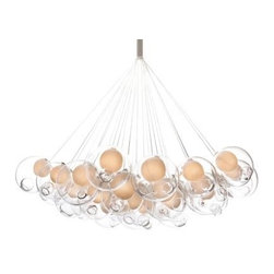 Bocci 28 Series Thirty-Seven Pendant Chandelier by Bocci | Lumens - At more than three feet across, the Bocci 28 Series Thirty-Seven Pendant Chandelier makes an impressive, organic impression in large modern spaces. The shades are glass that had air blown in and sucked out while also being periodically heated and cooled. Clear exteriors and Milk White inner cavities are standard, although custom options are available.