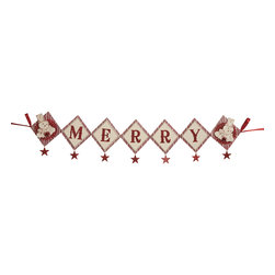 Bethany Lowe Designs - 'Merry' Banner Garland - This festive garland keeps spirits high during the holiday season and easily adds cheer to your best collection of Christmas d̩cor. �� 44'' L Pressed paper / glitter / tinsel / ribbon Imported