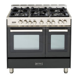 "Verona 36"" Double Oven Dual Fuel Range - Verona 36"" Double Oven Range in Duel Fuel.  Features 2 multi-function convection ovens that can be controlled with a touch control digital clock and timer.  5 high BTU sealed burners with removable cast-iron grates and caps.  Full-width storage compartment."