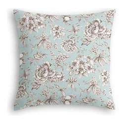 Light Blue Floral Toile Custom Euro Sham - The secret to those perfectly made beds you eye in magazines? Euro shams. Complete your bed set with a set of Simple Euro Shams for a look that's as stylish as it is snuggly.  We love it in this beautiful sky blue and gray toile floral cotton sateen. Modern or traditional? You be the judge.