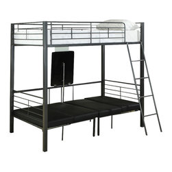 Monarch Specialties - Monarch Specialties 2236 Twin Bunk Bed with Play-Sit-Sleep Area - Kids everywhere love bunk beds and our set has all-in-one! This original concept has two single beds with multiple metal slates along its contour. Its beautiful charcoal grey color adds a simple yet chic touch. A mobile and secure ladder allow for easy access to the top bunk. The bottom bed can be converted into a sitting area along with a folding table. This is the perfect space to do homework, have fun and sleep!