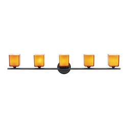 Access Lighting - Access Lighting Hermes 5-lt Wall/Vanity - Contemporary 5-lt wall/vanity in oil rubbed bronze finish. Available with amber glass.Close out prices. While supplies last