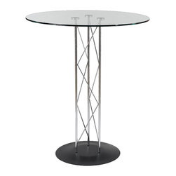 """Euro Style - Euro Style Trave 36"""" Bar Table // Clear Glass/Chrome Column/Black Base - Clear glass top and industrial strength base make Trave the first name in lasting style. The statement is crisp lines and clear strength. Sitting or standing room only!"""