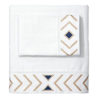 Serena & Lily - Sand/Navy Canyon Sheet Set - Geometrical trimming in beige and navy blue is elegant with a modern twist. It would be perfect for a downtown apartment with attitude.