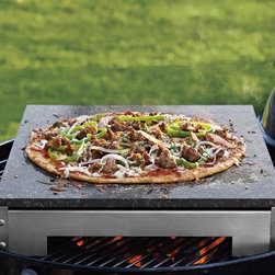 Granite Pizza Stone with Stand - This granite pizza stone is a great alternative for your barbecue grill. Instead of meat, make pizzas! It can also be used in a wood-fired oven or even a smoker to add some rich smokey flavor to your pizza.