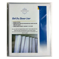 Rotator Rod - Quick Dry Shower Liner by Rotator Rod - When used with the Rotator Rod, the Original Shower Rod that Rotates, this clear shower liner hangs away from the tub preventing water from collecting where mold & mildew flourish.
