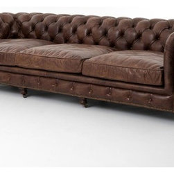 "Four Hands - Conrad 118"" Sofa, Cigar - Taking your Cognac in the library this evening, madam? Lounge in high style with this chesterfield sofa covered in top-grain leather with nailhead trim and castered feet. Too much Cognac? At nearly 10 feet long, there's plenty of room to stretch out."