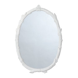 Laurel Chalk White Oval Mirror - White resin twigs gracefully overlay each other to form a gentle circular frame with nature-inspired details The overlap proceeds upward toward a carved finial, and the bottom ends crisscross sweetly for a romantic touch in bathrooms, bedrooms or entry ways.
