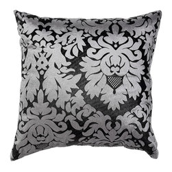 Cortesi Home - Dama Silver Accent Pillow - The Dama Silver pillow is traditional with a contemporary twist. Pillow cover is washable and features a hidden zipper. The black & silver velveteen fabric is smooth and the pillow fill is overstuffed for added comfort and durability. Quantity of 1.